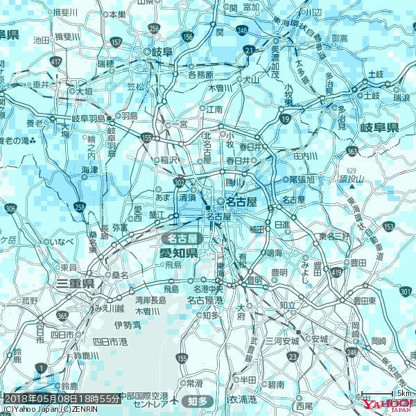 名古屋の天気(雨) 降水強度: 2.63(mm/h)  2018年05月08日 18時55分の雨雲 https://t.co/cYrRU9sV0H #雨雲bot #bot https://t.co/6BdohkSKbZ