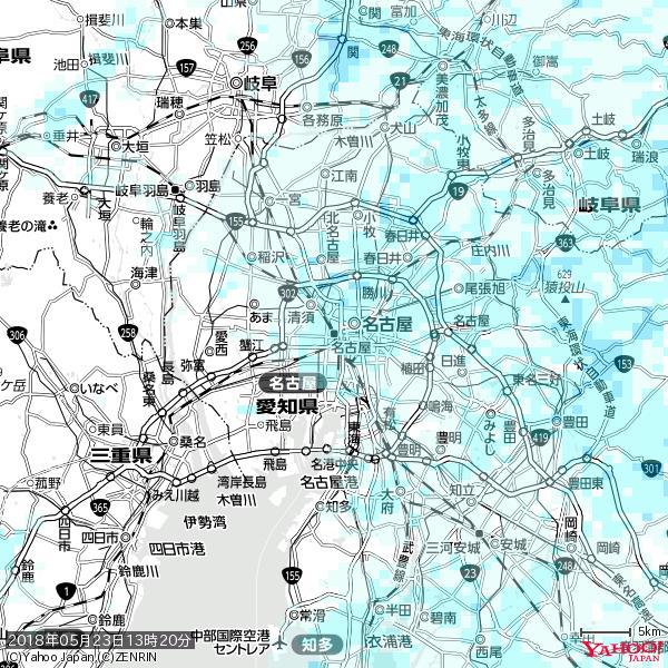 名古屋の天気(雨) 降水強度: 1.75(mm/h)  2018年05月23日 13時20分の雨雲 https://t.co/cYrRU9sV0H #雨雲bot #bot https://t.co/yoPU8JbYJV