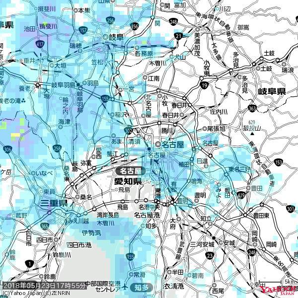 名古屋の天気(雨) 降水強度: 5.75(mm/h)  2018年05月23日 17時55分の雨雲 https://t.co/cYrRU9sV0H #雨雲bot #bot https://t.co/Wo93Mu8P43